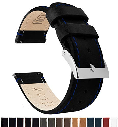 Barton Quick Release Top Grain Leather Watch Band Strap - Choose Color - 16mm, 18mm, 20mm, 22mm or 24mm - Black/Blue Stitching 18mm by Barton Watch Bands