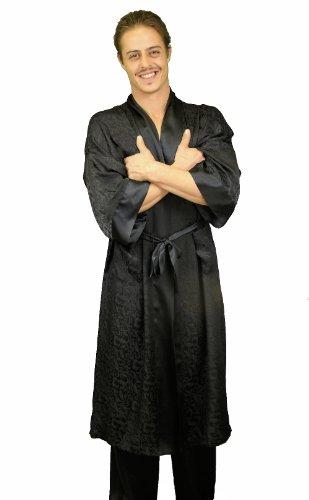 Nyeez Men's Classic Silk Robe Kimono Bathrobe Short (One Size, Black Long)