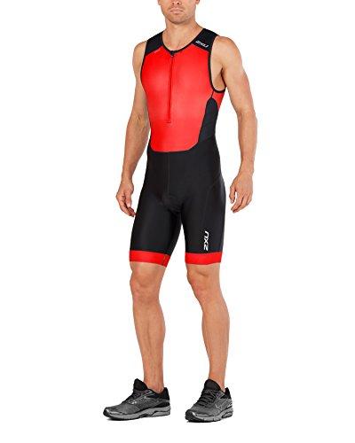 - 2XU Mens Perform Front Zip Trisuit, Black/Team Red, Large