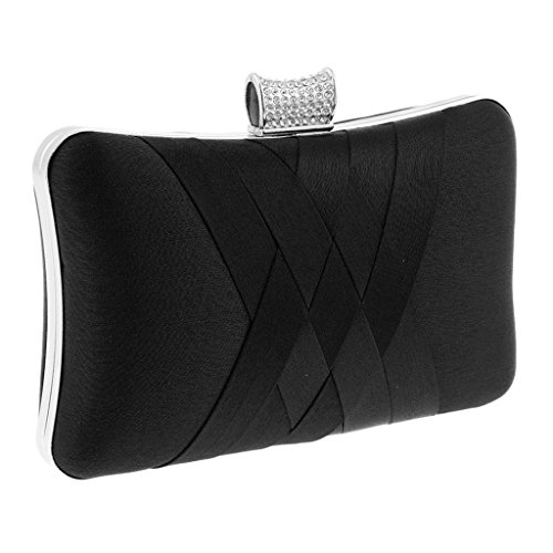P Prettyia Clutch Bag Diamond Imitation Purse Wallet Chain Shoulder Hand Bag Elegant Wedding Evening Party - Black Gray