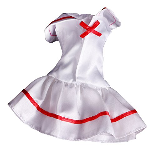 Jili Online White School Uniform Outfit Clothes for Barbie Dolls Momoko Dolls Other 8-12inch Dolls Accessories Fashion Costume Kids Toy (Barbie Doll Costume For Kids)