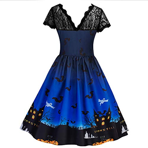 per Dress Cocktail Simyjoy pieghe Vintage pizzo Blue la Woman gonna a Swing 1950s in Parade Skater OXXRqYw