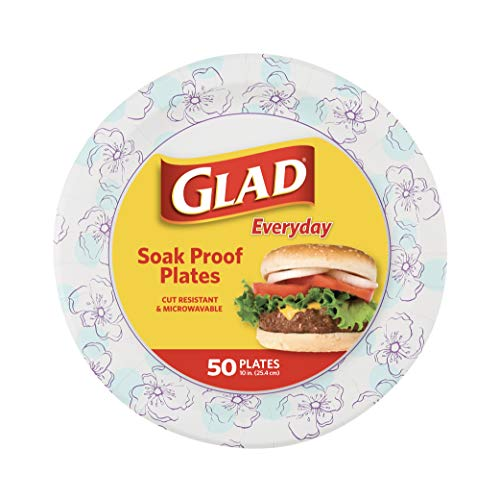 Glad Square Disposable Paper Plates for All Occasions   Soak Proof, Cut Proof, Microwaveable Heavy Duty Disposable…