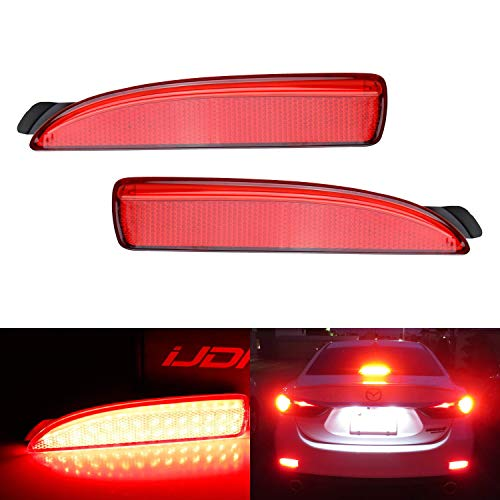 iJDMTOY Red Lens 90-SMD LED Bumper Reflector Lights For Mazda 3 5 6, Function as Tail, Brake & Rear Fog Lamps ()