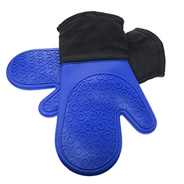 HOMWE Oven Mitt with Non-Slip Grip, Heat Resistant to 450° F, Set of 2, Royal Blue