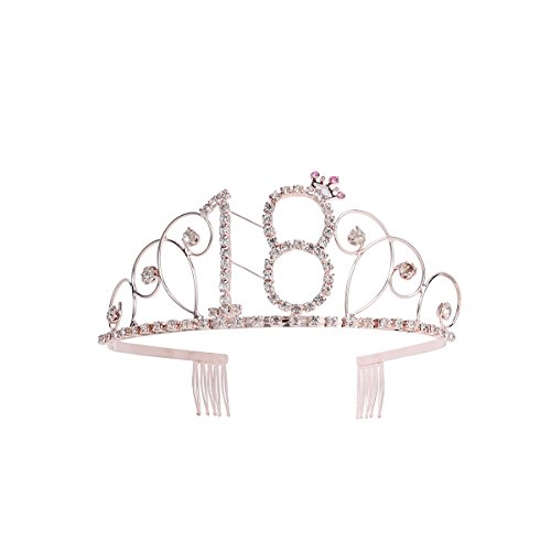 FRCOLOR Rhinestone Crystal Birthday Tiara 18th Happy Birthday Diamond Crown Headband Hair Accessories(Rose Gold)]()