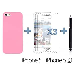 OnlineBestDigital - Frosted Surface Hard Back Plastic Case for Apple iPhone 5S / Apple iPhone 5 - Pink with 3 Screen Protectors and Stylus