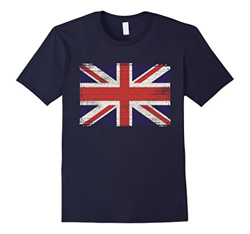 British Flag Colors (Mens Union Jack T-shirt Vintage UK Flag Tee British Retro Flag Small Navy)
