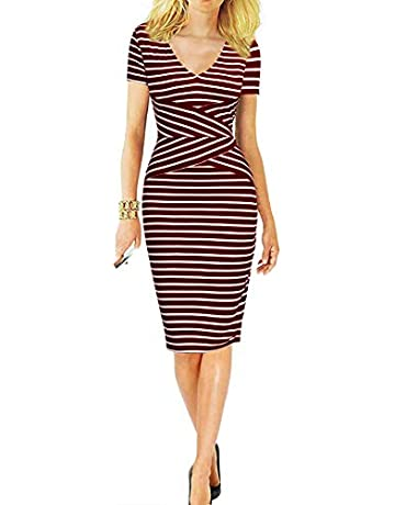 e1a38e68cb14 Mmondschein Women Short Sleeve Striped Wear to Work Business Pencil Dress