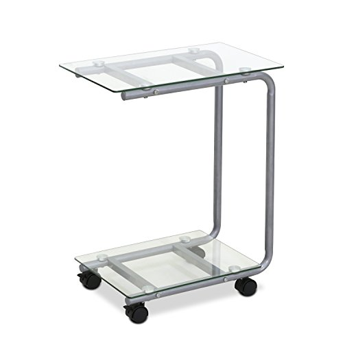 Furinno FTD0412GC Kaca U-Shaped Glass Laptop Desk, Clear - Glass Laptop Desk