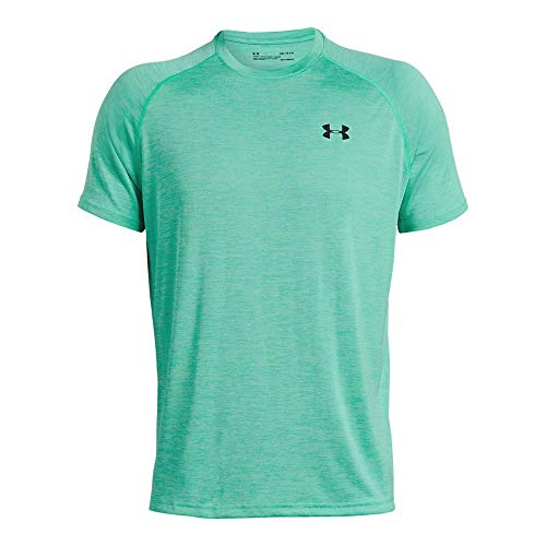 Under Armour Men's Tech Short Sleeve T-Shirt, Green Malachite (350)/Black, -