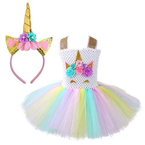 Pink Horse Costume (Unicorn Costume for Girls Dress Up Clothes for Little Girls Rainbow Unicorn Tutu with Headband Birthday)