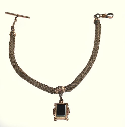 #F13701 Beautiful Victorian Era Antique Hair Braided Watch Chain with Black Onyx Fob by Unknown