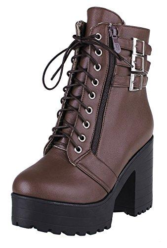 YE Damen High Heels Pleateau Stiefeletten mit Blockabsatz und Schnalle Ankle Boots schnüren Herbst Winter Schuhe Braun