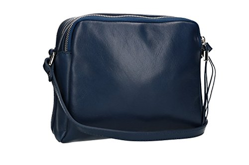 Borsa donna a tracolla PIERRE CARDIN blu in pelle Made in Italy VN1534