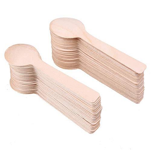 Cucharas de madera desechables biodegradables para cubiertos y utensilios de cocina impresionante para camping y barbacoa
