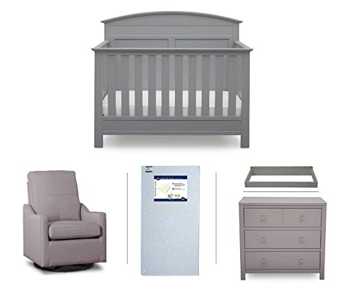 Serta Ashland 5-Piece Nursery Furniture Set (Serta Convertible Crib, 4-Drawer Dresser, Changing Top, Serta Crib Mattress, Glider), Grey/French Grey