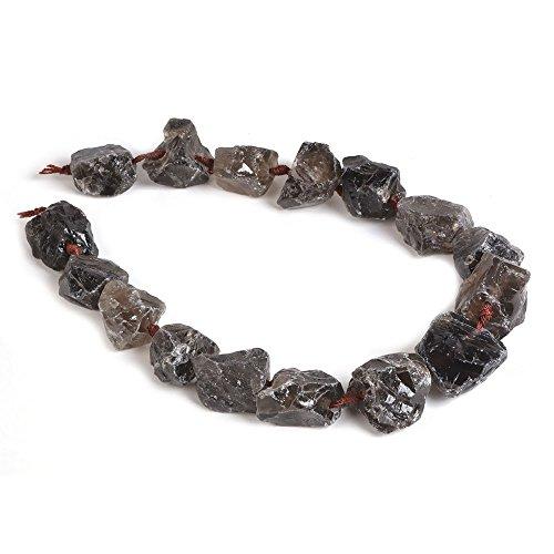 Quartz Nugget Smoky Beads - Natural Smoky Quartz Crystal Nugget Raw Graduated Beads Strand 2mm Hole Drilled