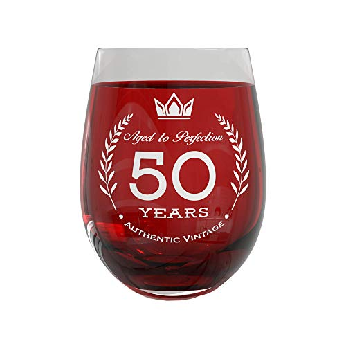 50th Birthday Gift Wine Glass | Party Decorations for Anniversary & Fancy Celebration | 20oz Stemless Vintage Glass for Men & Women | Sturdy Glassware with Elegant 50 Years Aged to Perfection Design ()