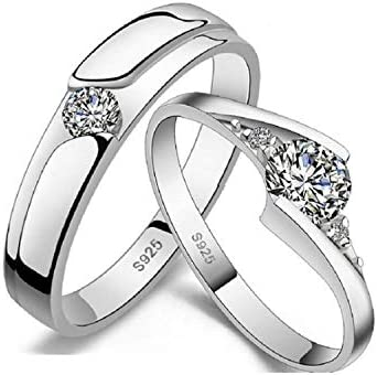【正規品】【☆ペアアクセサリー工房☆】ペアリング 2個セット シルバー925 CZダイヤ レディースリング&メンズリング ペアルック 結婚指輪 婚約指輪 フリーサイズ (サイズ調整可能)