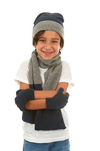 Polar Wear Boys Knit Hat, Scarf And Gloves Set - Navy/ (Boys Hat Glove)