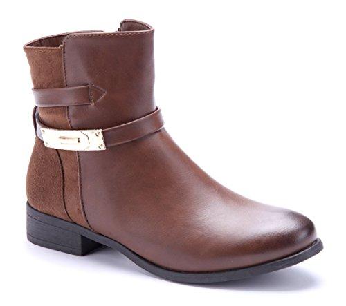 b94290f5e64c Klassische Schuhtempel24 3 Damen Blockabsatz cm Stiefeletten Camel Schuhe  Boots Stiefel EOrqOA ...