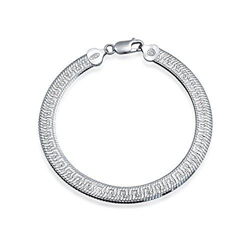- Herringbone Reversible Flat Greek Key Design Flexible Strong Chain For Women Bracelet 925 Sterling Silver Made In Italy