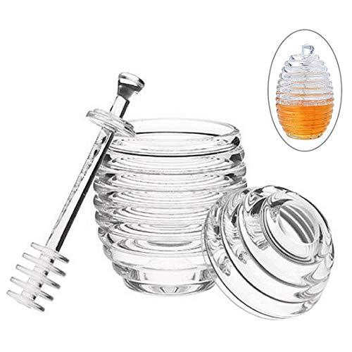(FineInno Crystal Plastic Honey Pot Jam Jar with Honey Dipper Spoon and Lid Transparent Beehive Storage Jar (265 ml))
