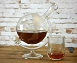 Homezone Large Vintage Glass World Globe Whisky Decanter Wine Carafe On Cradle. 700ml Hand Blown Etched Glass Drinks Decanter, Perfect Christmas Gift for Him/Her.
