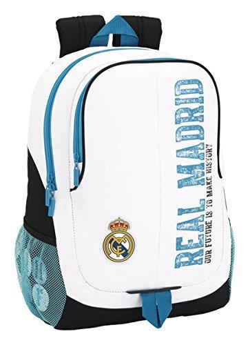 "Oficial Real Madrid Soccer - School Bag - Rucksack - Backpack - 12.6""x6.3""x17.3"" - White/blue"