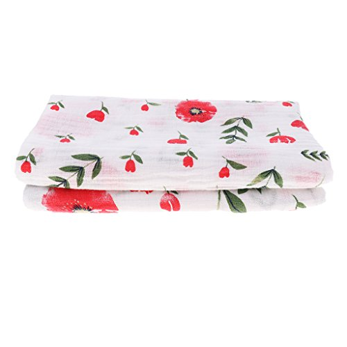 - Prettyia Muslin Swaddle Blankets Cotton Baby Swaddle Wrap, Burping Cloth & Stroller Cover - Cherry Blossom, as described