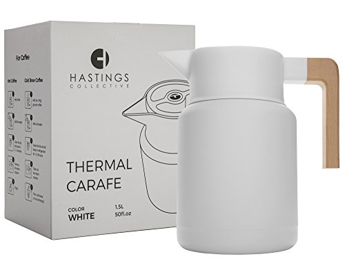 Large Thermal Coffee Carafe - Stainless Steel, Double Walled Thermal Pots For Coffee and Teas by Hastings Collective - White, Vacuum Carafes With Removable Tea Infuser and Strainer | 50 Oz. by Hastings Collective (Image #2)'
