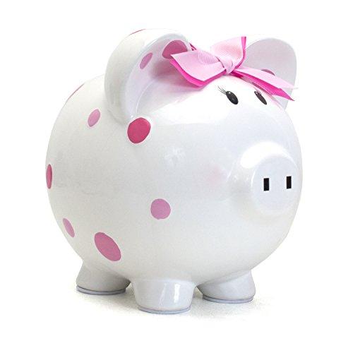 Child to Cherish Ceramic Polka Dot Piggy Bank for Girls, Pink -
