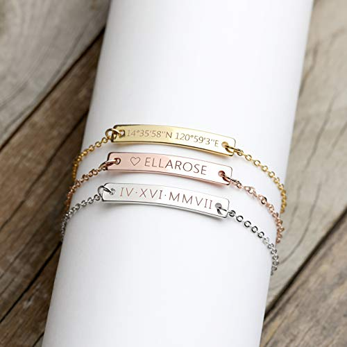 A Same Day Shipping Before 3 pm Custom Engraved Bracelet Personalized Jewelry Bridesmaid Bracelet Custom Roman Numeral Bracelet Gold Anniversary Gifts Personalized Jewelry - 3BR-RN