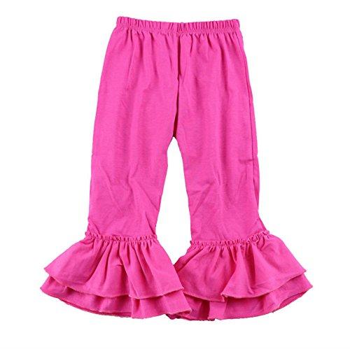 Pink Hot Pants (Wennikids Children's Little Girls Ruffle Soft Cotton Flare Pants Large Hot Pink)