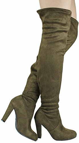 Carmen Olive (JJF Shoes Women Olive Fashion Slouchy Faux Suede Round Toe Chunky Heel Over Knee Boots-7.5)