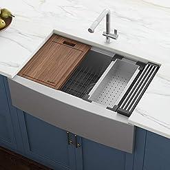 Farmhouse Kitchen Ruvati Verona RVH9200 33″ Apron-front Workstation Farmhouse Single Bowl Kitchen Sink, Stainless Steel, 16 Gauge farmhouse kitchen sinks