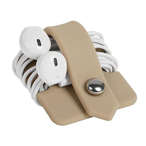 ELFRhino Silicone Earphone Organizer Earphone Wrap Winder Headphone Cord Organizer Wrap Winder Manager/Cable Winder Khaki