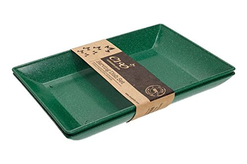 EVO Sustainable Goods Two Piece Serving Dish Set, Dark Green