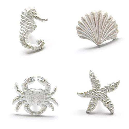 Lemonadeus Unique Coastal Sea Life Starfish,Crab,Seahorse,Shell, Cast Iron Drawer Pulls/Knobs, Drawer Handle(Set of 4) (White)