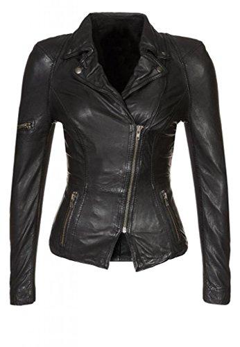 Leather4u Chaqueta de piel para mujer, piel de cordero, Negro LL591