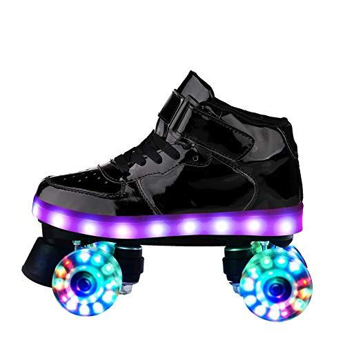 KALINNU Unisex Roller Skates Adjustable Roller Skates High-top Double-Row Roller Skates with Illuminated Wheels with USB Charge