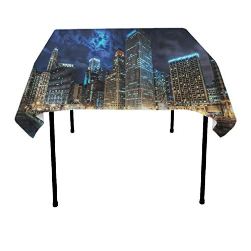 GOAEACH Premium Waterproof Table Cloths, Rectangular Square 3D Print USA Chicago Skyline Night View Table Covers, Waterproof Stain Resistant Table Protectors - Table Art for $<!--$14.99-->