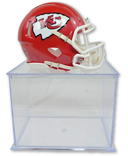 Riddell-Pro Mold Official National Football League Fan Shop Authentic NFL Mini Speed Helmet and Display Case Bundle. Great Sports Fan Collectible - Office, Home or Man Cave (Kansas City Chiefs)