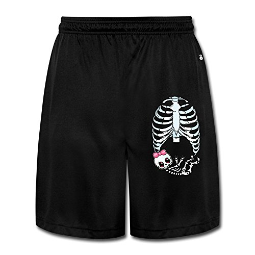 [Runy Men's Baby Girl Skeleton Pregnant Slim Sports Jogging Shorts With Pocket Black] (Pregnant Basketball Costume)