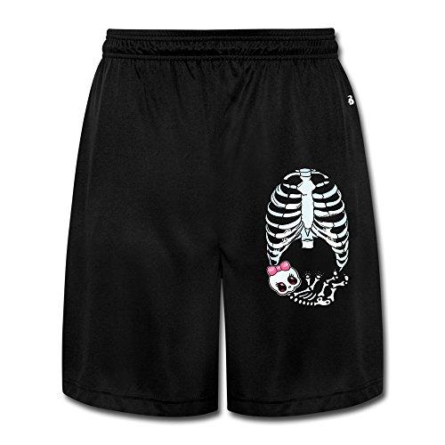 [Runy Men's Baby Girl Skeleton Pregnant Slim Sports Jogging Shorts With Pocket Black] (Pregnant Basketball Costume)
