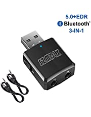 SZMDLX USB Bluetooth 5.0 Transmitter Receiver 3 in 1, Wireless Bluetooth Audio Adapter, Bluetooth 5.0 EDR Adapter with 3.5mm AUX for Car TV Headphones PC Home Stereo, USB Power Supply, Plug and Play