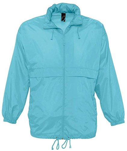 "- SOL'S Unisex Surf Windbreaker Lightweight Jacket (XXL (45-47"" Chest)) (Blue Atoll)"