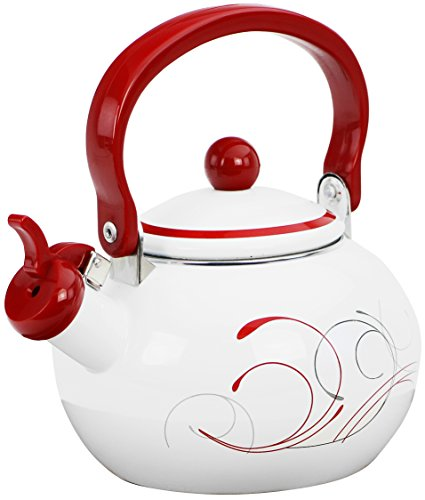Corelle Coordinates by Reston Lloyd Harmonic Hum Alert Whistling Teakettle with Fold Down Handle, 2-Quart, Splendor