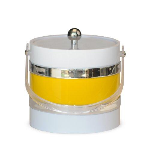 Mr. Ice Bucket Ice Bucket, 3-Quart, White with Yellow Center